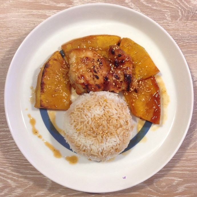 ... succulent chicken teriyaki with the combination of sweet pumpkin