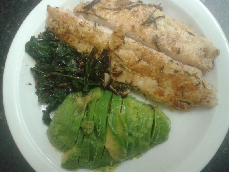 Fried Basa Fish with Garlic Greens