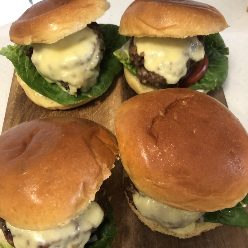 4 burgers ready to eat   - Cheds Triple Cheeseburgers