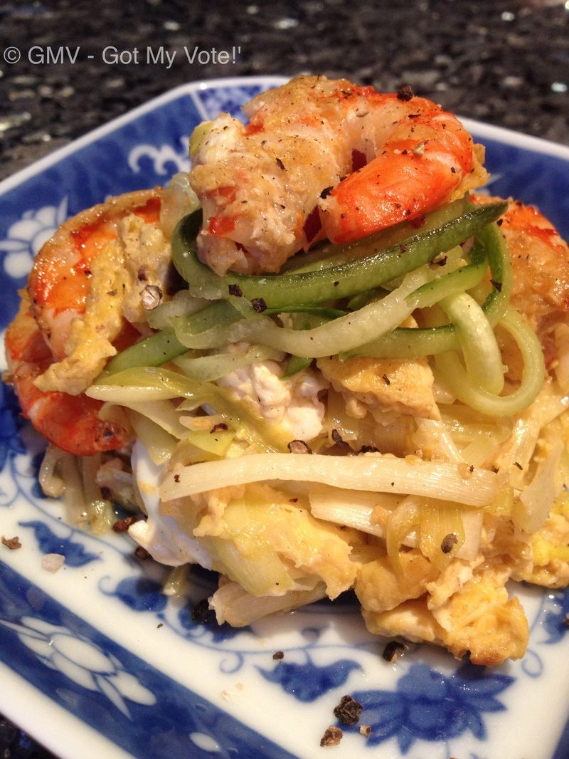 Golden Chives with Prawns & Egg
