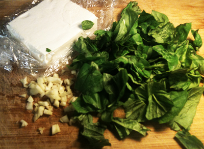 Basil, feta, lemon, garlic, blender