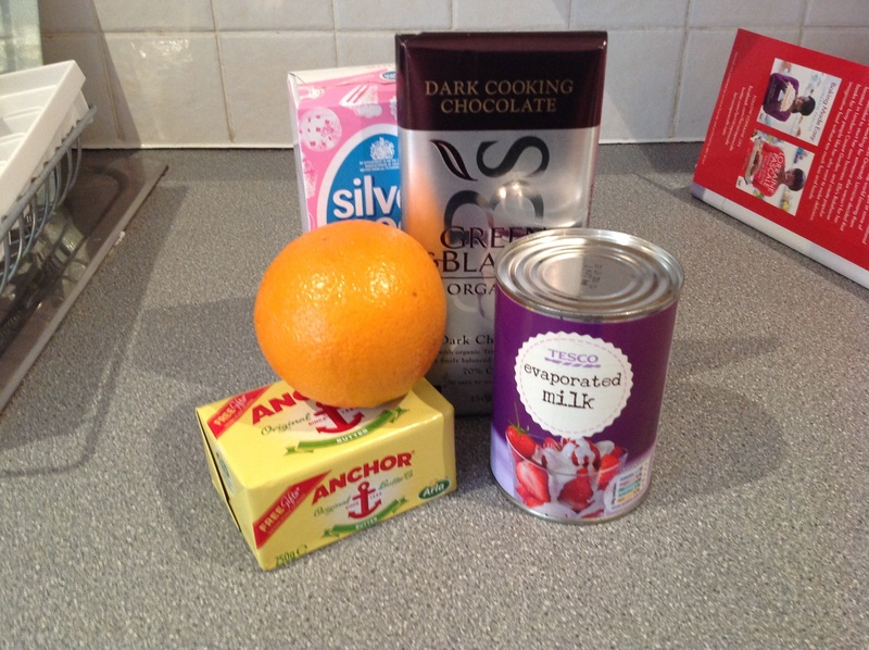 Ingredients, fudge, chocolate, orange