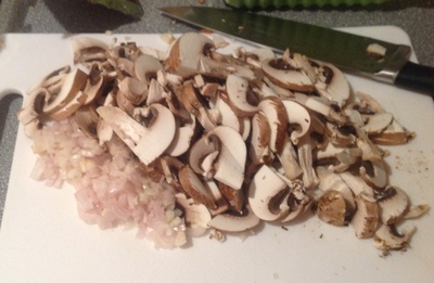Shallots, board, knife