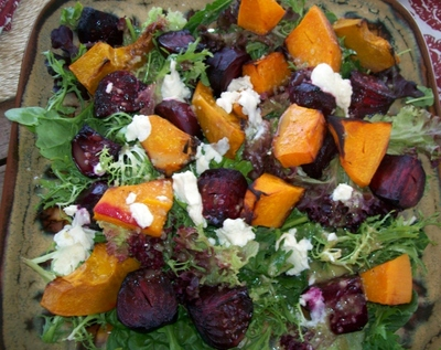 Pumpkin beetroot feta salad, pumpkin, feta, fresh beetroot