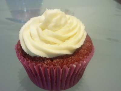 Red velvet cupcake with delicious cream cheese topping