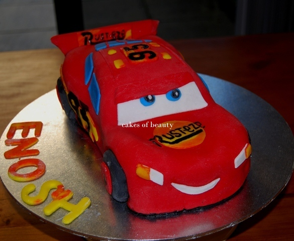 The final product  - Lightning McQueen Car Cake