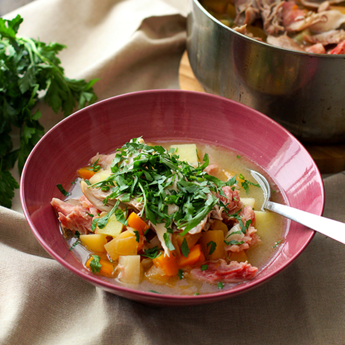 A bowl of hearty Man Soup, ready to nourish in the winter!