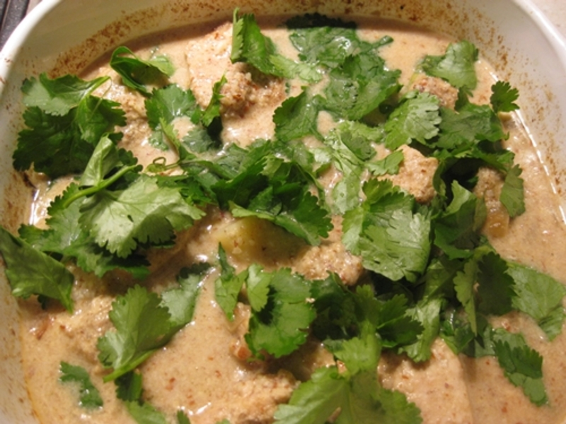 curry  - Chicken Curry with Ground Almonds, Brown Rice and Coriander