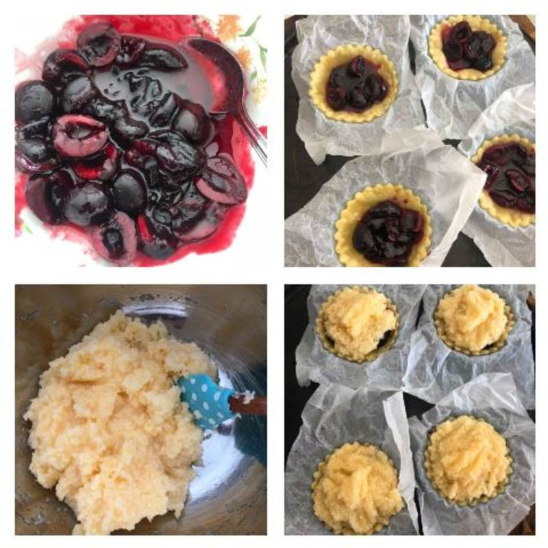 adding the filling and the topping  - Cherry Coconut Tarts