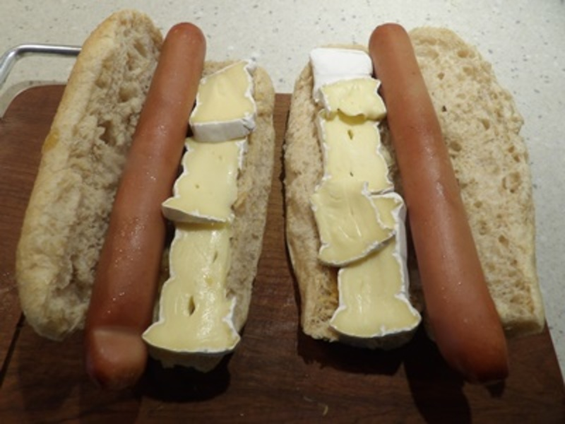 cooking,onion,rings  - Caramelised Onion, and Brie Hot Dog