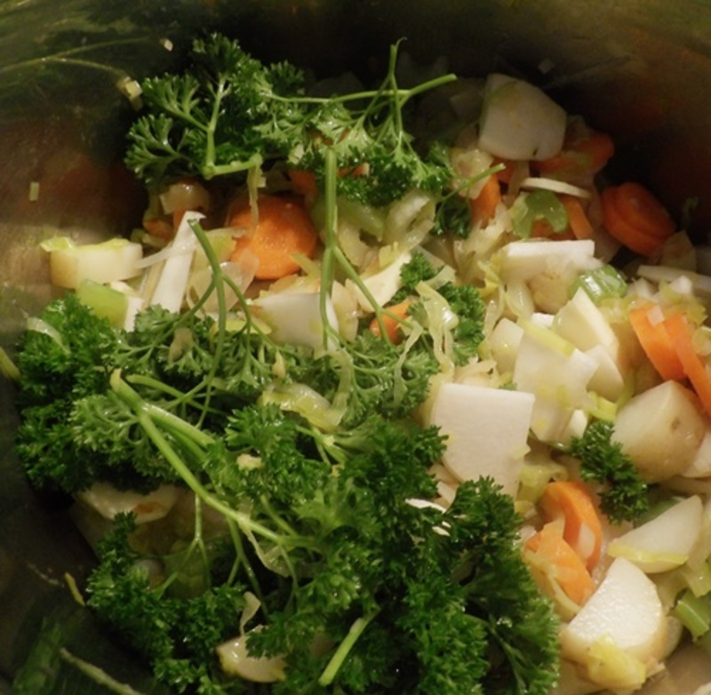 cookikng,vegetables,for,vegetable,stock  - Rich Chicken and Almond Soup