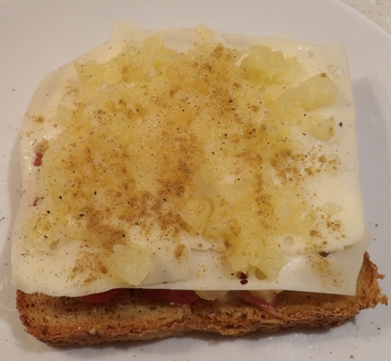adding,pineapple,and,cheese,to,toastie  - Hawaiian Pineapple, Bacon and Cheese Toastie