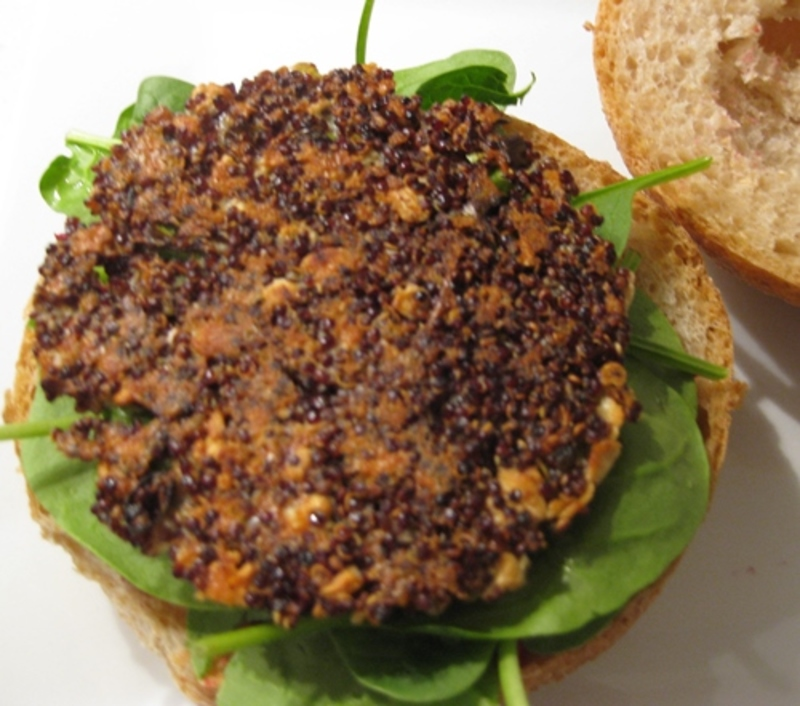 relish,on,top,of,wholemeal,roll  - Quinoa Burger With Beetroot, Apple And Fetta Relish