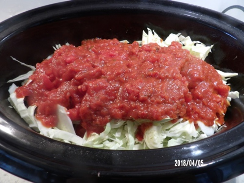 Getting,ingredients,ready,for,slow,cooker,cabbage,casserole  - Slow Cooker Cabbage Roll Casserole