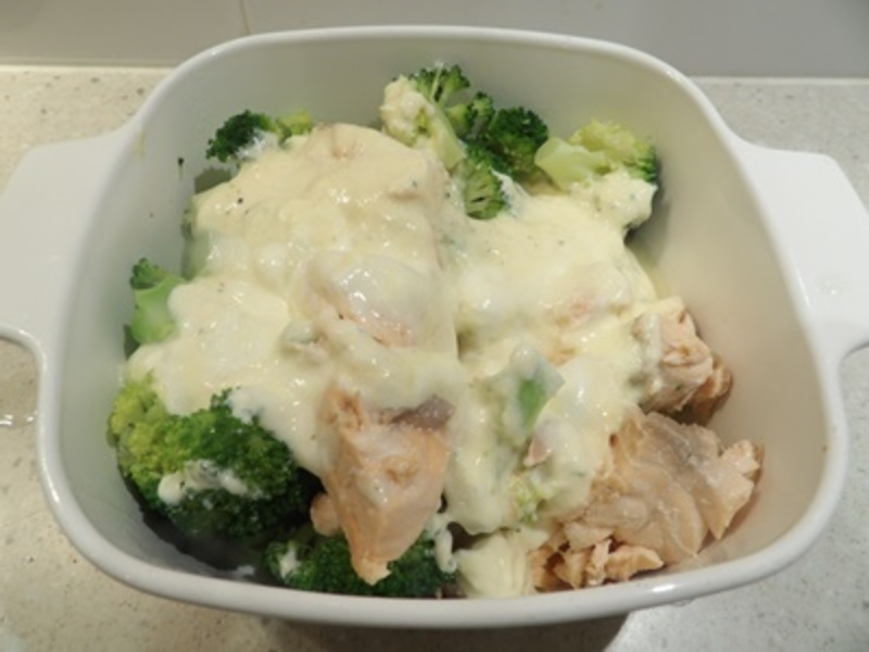 adding,yogurt,mixture,to,gratin