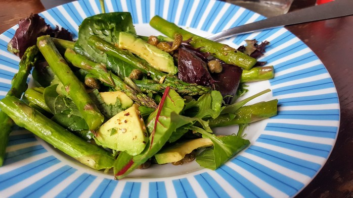 Asparagus, avocado and caper salad