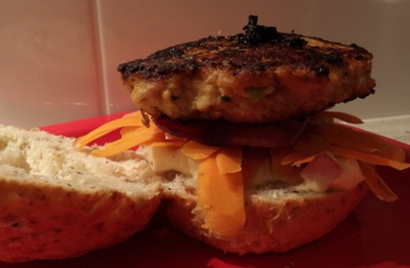assembling,thai,chicken,burger,with,curry,apple,mayonnaise  - Thai Chicken Burgers With Bacon And Curried Apple Mayonnnaise