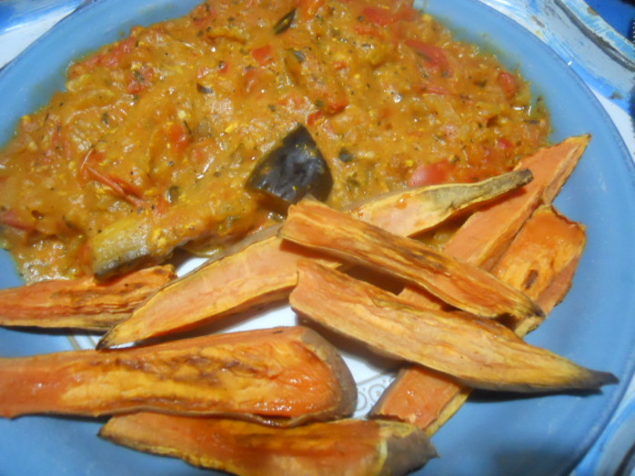 aubergine curry, sweet potato
