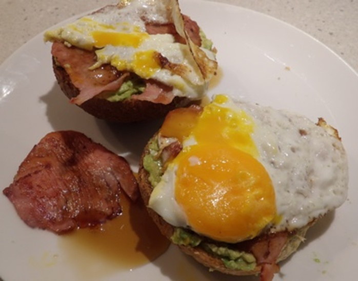 avocade,on,toast,with,bacon,egg,and,maple,syrup