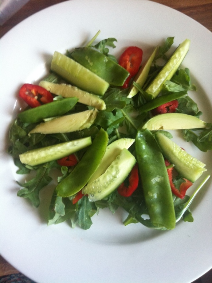 avocado snowpea salad