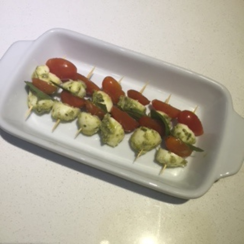 Baby bocconcini and cherry tomato skewers 