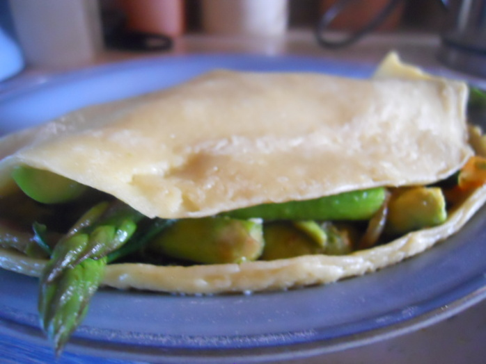 bacon, avocado, asparagus, pancake