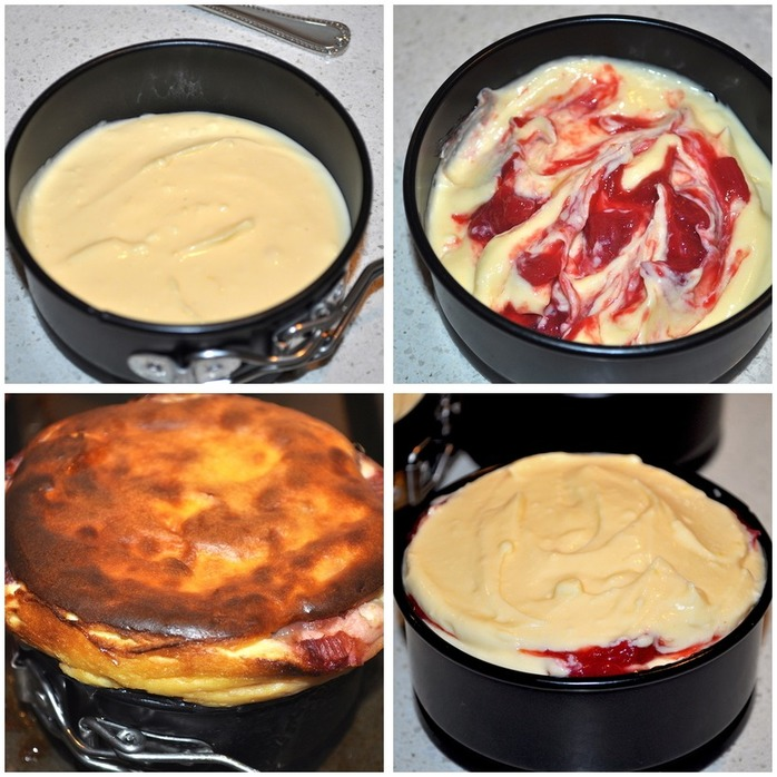 Baked Ricotta Cake With Rhubarb Swirl Montage