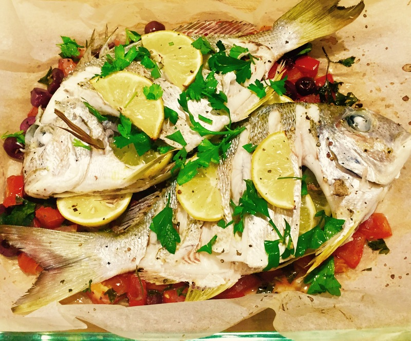 Baked Bream With Olives And Tomato