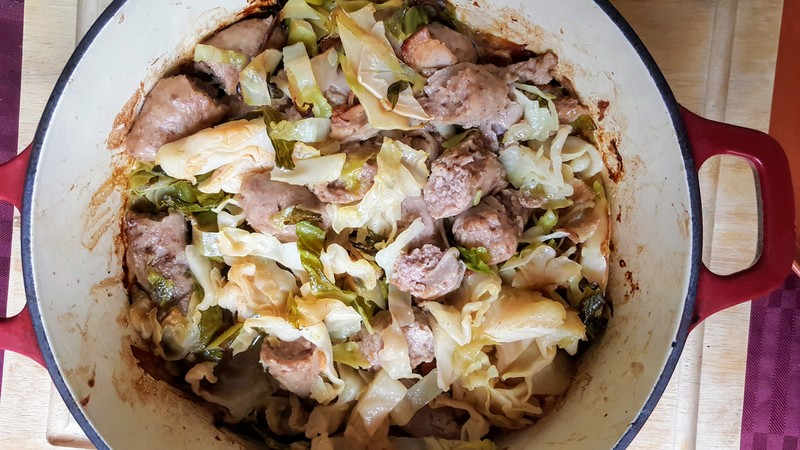 Baked sausages and cabbage  - Baked Cabbage and Sausages