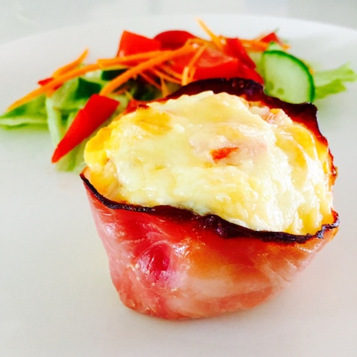 Baked Ham Carbonara Muffin Cups