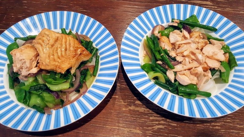 Baked Salmon and Veggie Stir Fry  - Baked Salmon with Vegetable Stir fry