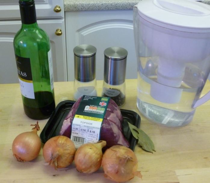 Beef onions wine easy meal ingredients