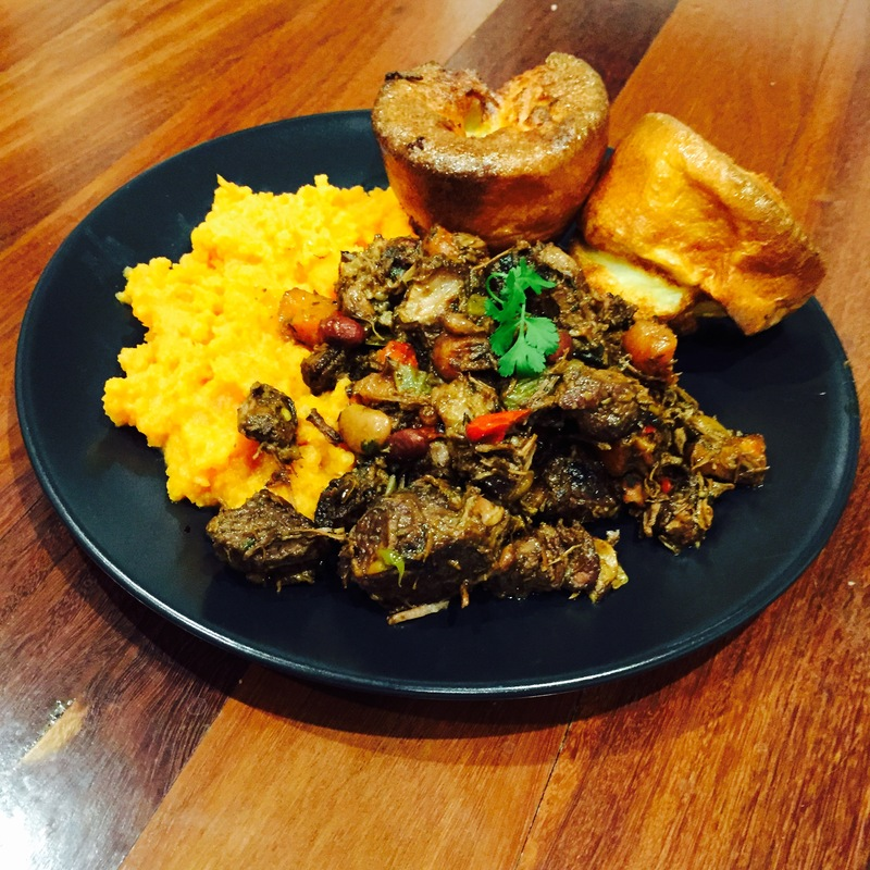 Beef and beans with sweet potato mash and Yorkshire puddings  - Beef and Beans With Sweet Potato and Yorkshire Puddings