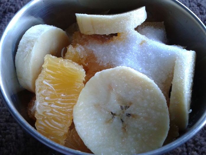 Blend banana, orange and sugar