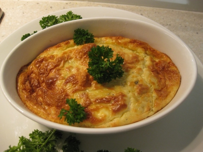 blue,cheese,souffle,with,cream,cheese,and,polenta,base  - Blue Cheese Souffle with Cream Cheese and Polenta Base
