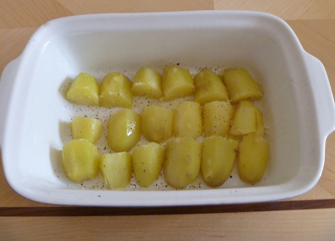 boiled potato for potato bake