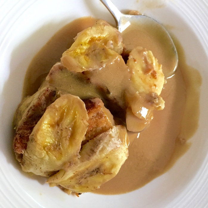 Bread And Banana Pudding With Butterscotch Sauce