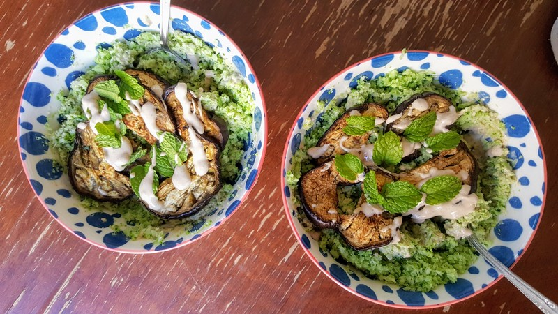 Broccoli rice bowls with eggplant and tahini sauce