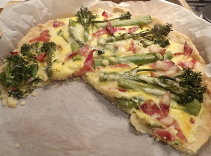broccolini,tart,sliced
