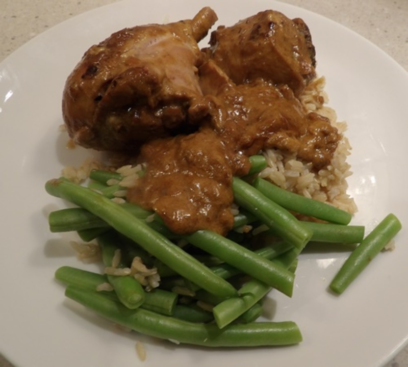 Burmese,chicken,curry,served,with,fresh,beans  - Burmese Chicken Curry