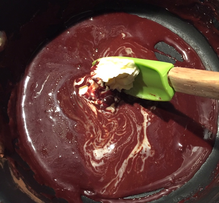 Mixing the ingredients - Hot Chocolate Fudge Dipping Sauce