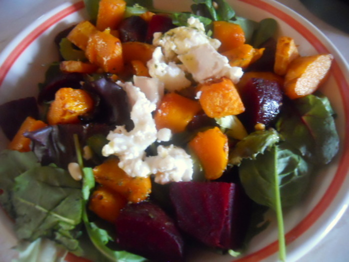 butternut squash salad, goat cheese, goats' cheese, beetroot