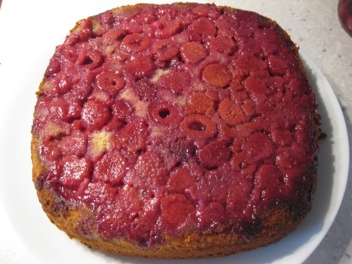 mixing,ingredients,upside,down,raspberry,cake