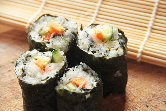 No rice sushi recipe, daikon radish sushi idea