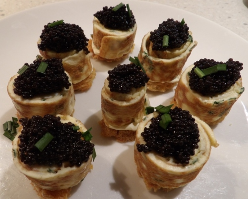 caviar,omelette,rolls,on,home,made,croutons  - Rolled Omelette on Home Made Croutons with Black Caviar