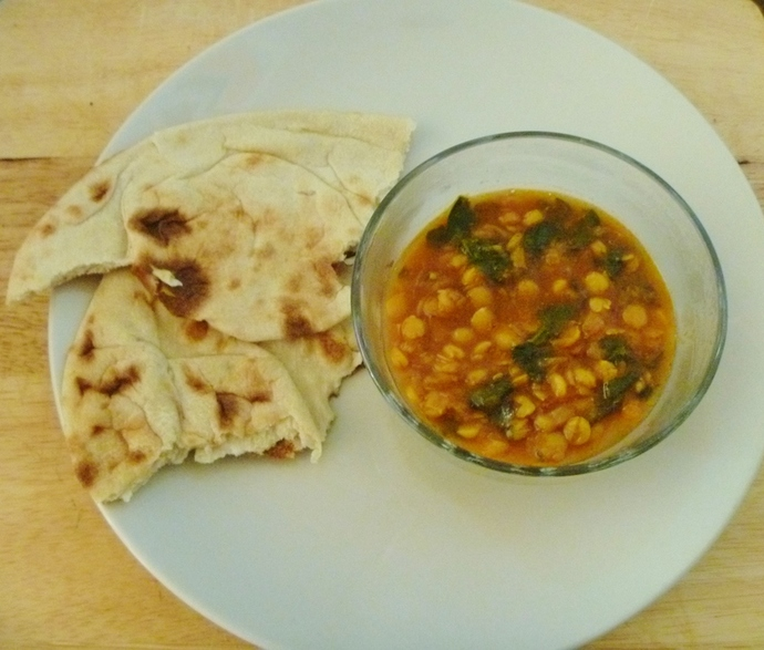 chana dhal saag and naan