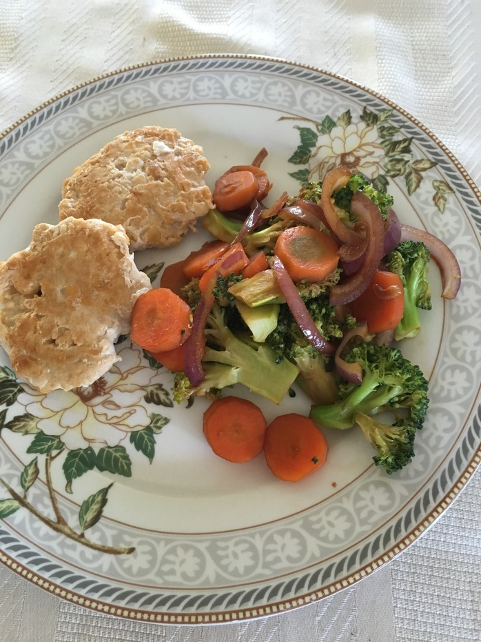 Chick and chick pea patties with stir fry vegetables