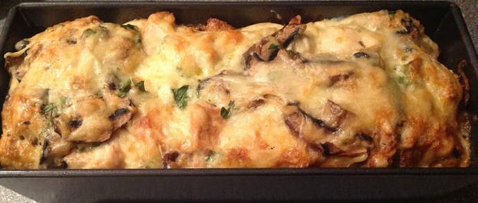 Chicken bake, gruyere, cheese, baking dish