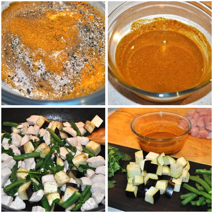 Chicken Green Bean Eggplant Curry Montage