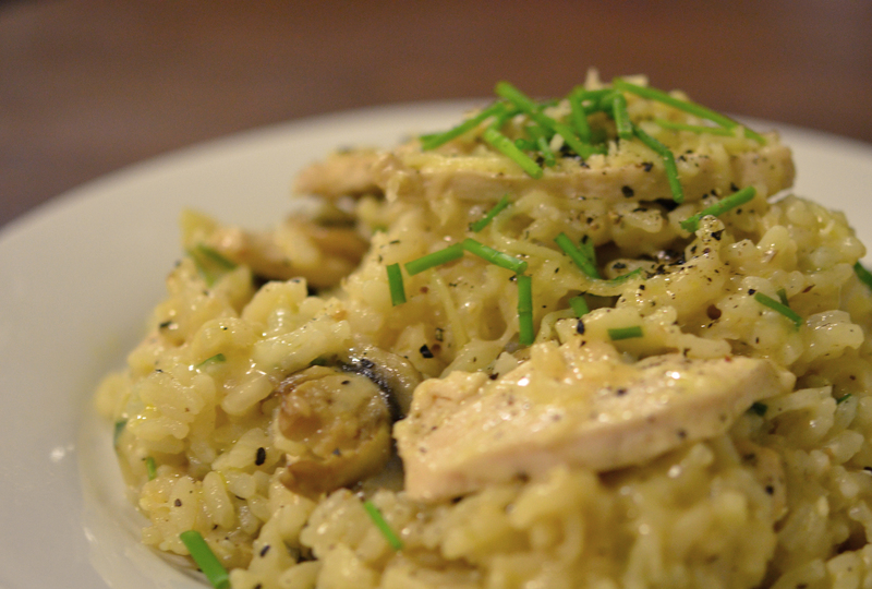 Baked chicken and mushroom risotto recipe recipeyum for How do i make chicken risotto